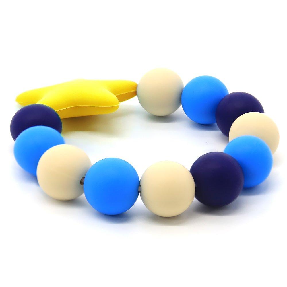 YuanSen Vizbrite Silicone Teether Bracelet Food-Grade Silicone Teething Ring Baby toys BPA-Free Yellow