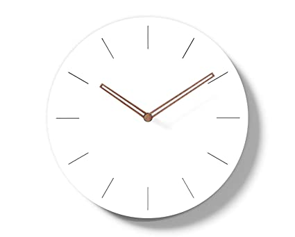 . Simple Modern White Round Wooden Wall Clock 11 inch Non ticking one AA  battery powered  Time Bars