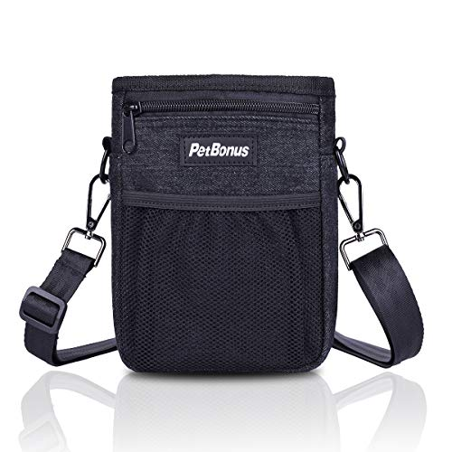 PetBonus Denim Dog Treat Training Pouch, Dog Treats Bag with Built-in Poop Bag Dispenser, Easily Carries Pet Toys, Kibble, Treats - 3 Ways to Wear - 2 Black Carabiners Included(Black)