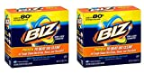 Biz Laundry Detergent Powder Booster, Stain & Odor Removal - 80 Ounces (2-Pack)