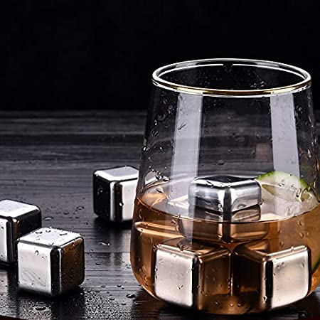 Decdeal Juego de cubitos de hielo de acero inoxidable, 8 unidades, reutilizables, para whisky, vino, zumo de cerveza, bebidas frías