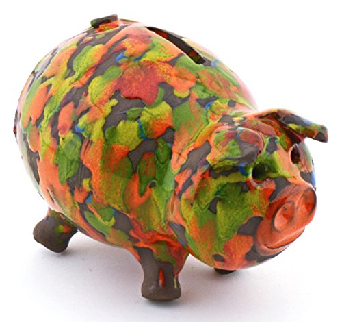 ART ESCUDELLERS Ceramic PIGGY BANK handmade and handpainted with XISPEJAT ORANGE decoration. 5,91'' x 4,33'' x 4.72'' by ART ESCUDELLERS