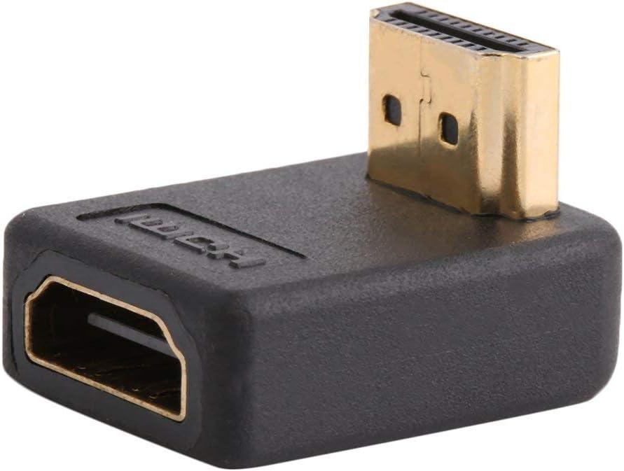 WEQQ Adaptador de Puerto de 90 Grados HDMI A Macho a Hembra convertidor de extensión de ángulo Recto Negro con Dorado