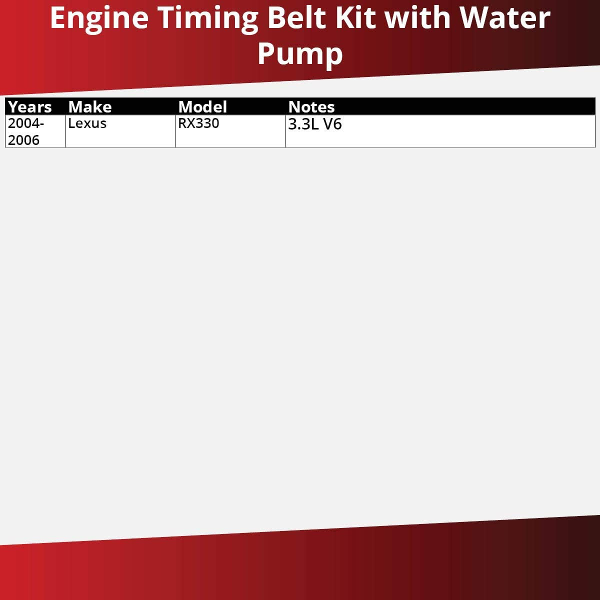 Engine oe Gates Timing Belt Water Pump Kit for 2004-2006 Lexus RX330 3.3L V6