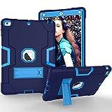 GoYi Funda iPad Air/iPad 5 (9.7 Inch, 2013 Release, Modelo-A1474/A1475/A1476), Carcasa Caso Estuche360° Protección/Silicona + PC 3-In-1/Tough Armor/Soporte para iPad Air/iPad 5-Azul/Azul