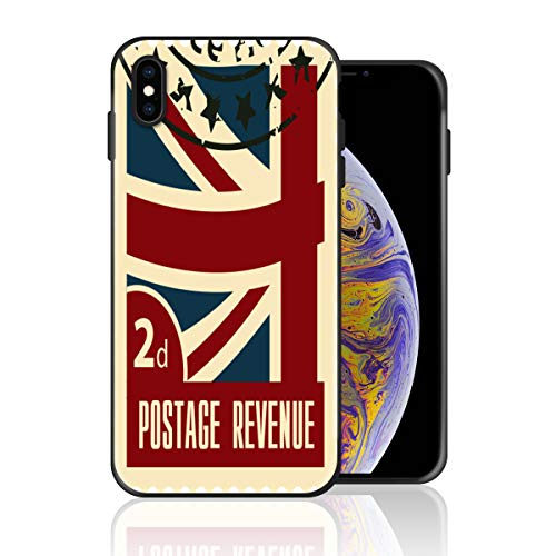Silicone Case for iPhone X, UK Flag Stamp Collection Design Printed Phone Case Full Body Protection Shockproof Anti-Scratch Drop Protection Cover