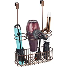 mDesign Over-Cabinet Hair Care Tools Holder for Hair Dryer, Flat Iron, Curling Wand, Straightener - Venetian Bronze