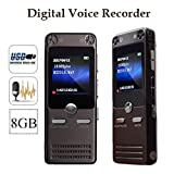 EXMAX® Digital Voice Recorder by FM Radio Mp3 Player HD Dual Microphone Dynamic Noise Reduction Recording, Portable Rechargeable 8GB Recorder High quality zinc alloy shell Dictaphone for conferences,classroom,interview recordingetc etc(Gray)