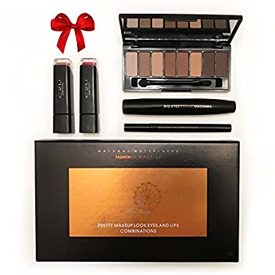 Makeup Gift Set - Professional Cosmetics 5 Piece Kit. Volume Mascara, 2 Lip Gloss, Eye Shadow and Precision Liquid Black Eyeliner Pen