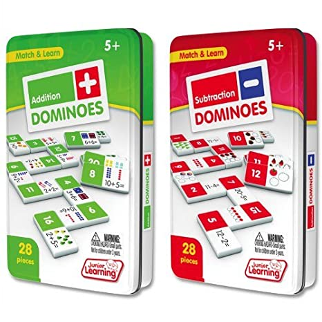 Amazon.com: Junior Learning Addition & Subtraction Dominoes Game Set ...