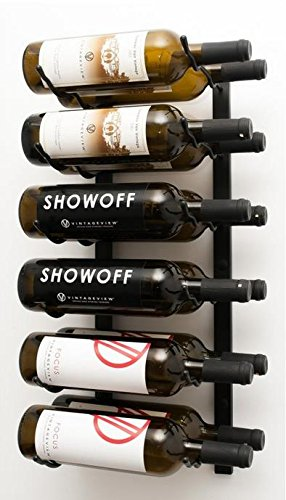 VintageView Wall Series-12 Bottle Wall Mounted Wine Rack (Satin Black) Stylish Modern Wine Storage with Label Forward Design (12 Bottle Wine Rack Black)