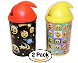 2 Pack – Emoji | Emoticon Mini Desktop Trash Cans / Bins, Variety of faces and impressions, Perfect for Desk / Homework or for Party Favors / Birthday Giveaways