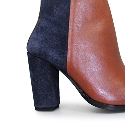 Lunar Zoella Heeled Leather and Suede Ankle Boot With Squared Toe, Tan, Burgundy or Black Tan