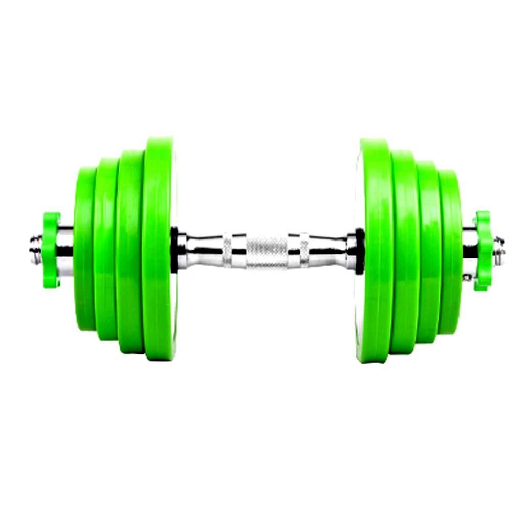 YaNanHome Dumbbell Männer gummierte Stahl Hanteln Einstellbare Gewicht Hanteln können montiert Werden, um die Langhantel 5kg  2 bis 10kg  2 zu zerlegen (Farbe : Grün, Größe : 7.5kg2)