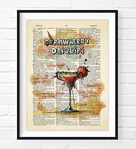Strawberry Daiquiri Cocktail Drink Recipe Art Print, Unframed, Bar Decor Vintage Highlighted Dictionary Page Wall Art Poster Sign, All -