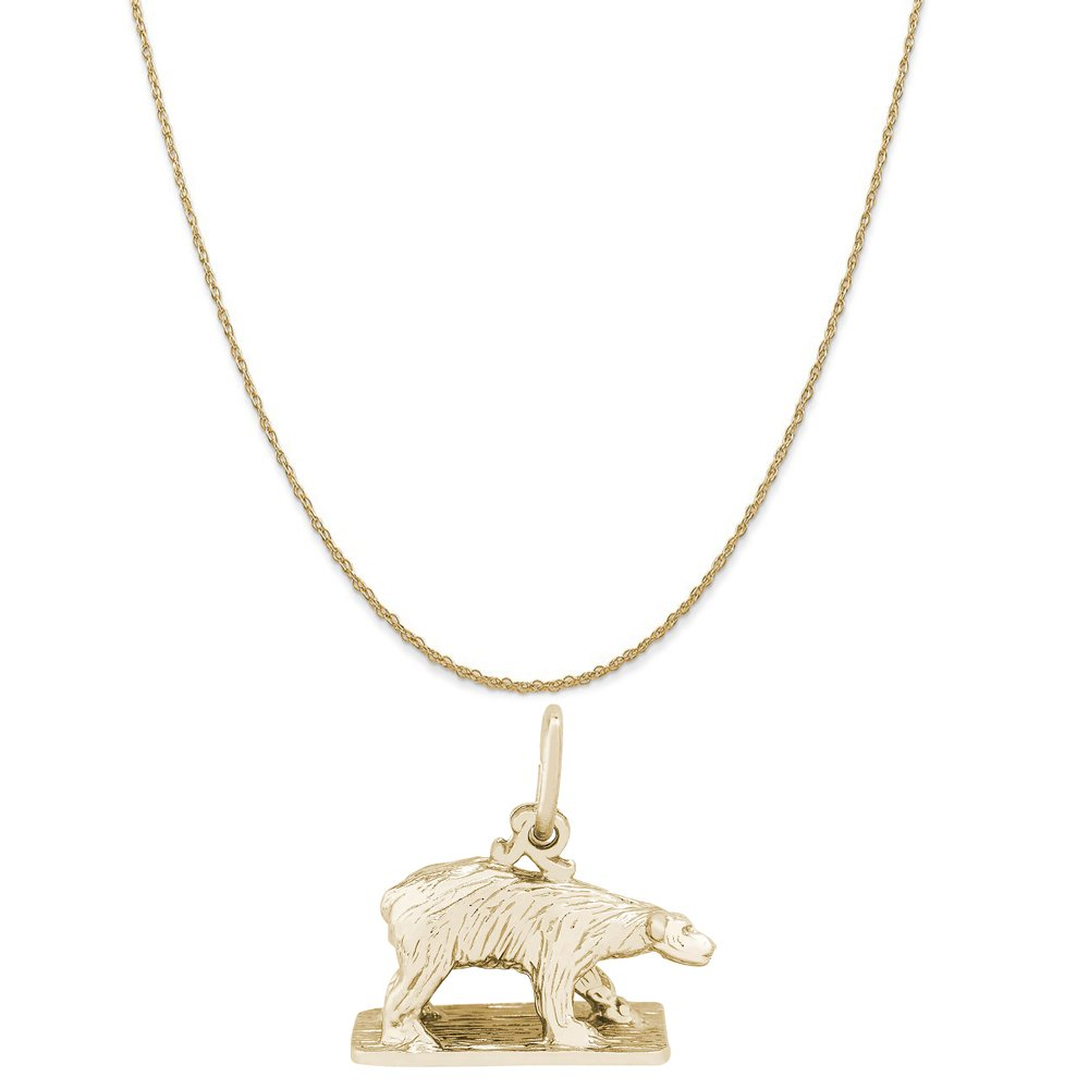 Rembrandt Charms 14K Yellow Gold Polar Bear On Ice Charm on a Rope Chain Necklace, 18''