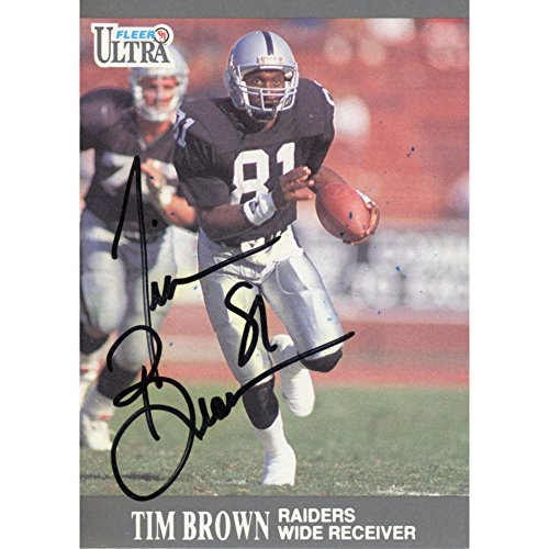 Tim Brown Oakland Raiders Autographed 1991 Fleer Ultra Card - JSA Certified - NFL Autographed Football Cards