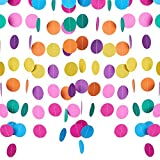 PandaHall Elite 8 Pcs Colorful Paper Garland Circle Dots Hanging Backdrop Each 13 Feet for Birthday Party Wedding Home Decorations