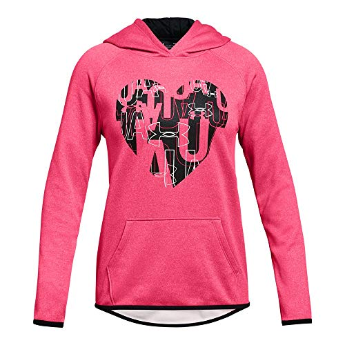 Under Armour Girls Armour Fleece Hoodie Heart Icon, Penta Pink Light Hea (975)/Black, Youth ()