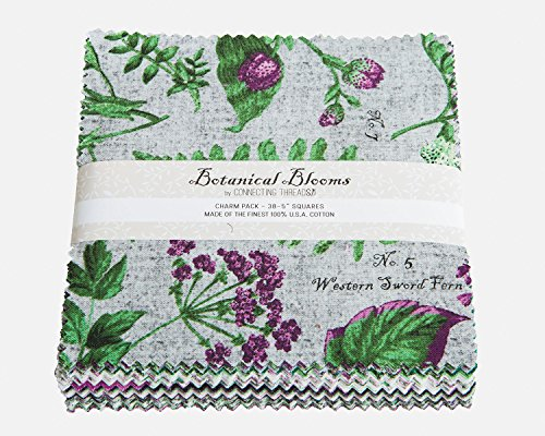 Connecting Threads Collection Precut Quilting Fabric Bundle (Botanical Blooms - 5'' Charm Squares) by Connecting Threads