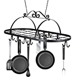 Lantusi Multifunctional Oval Ceiling Iron Hanging Pot Holder Pan Hanger Kitchen Storage Utility Cookware Hook Rack(US STOCK)