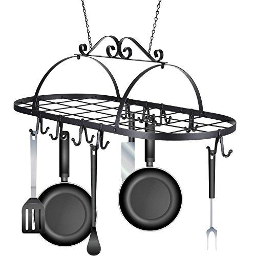 Lantusi Multifunctional Oval Ceiling Iron Hanging Pot Holder Pan Hanger Kitchen Storage Utility Cookware Hook Rack(US STOCK)