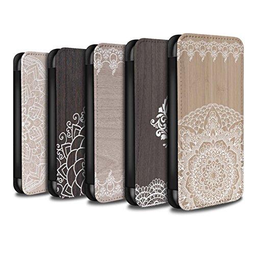 Stuff4 Coque/Etui/Housse Cuir PU Case/Cover pour Apple iPhone SE / Pack 8pcs Design / Bois Dentelle Fine Collection
