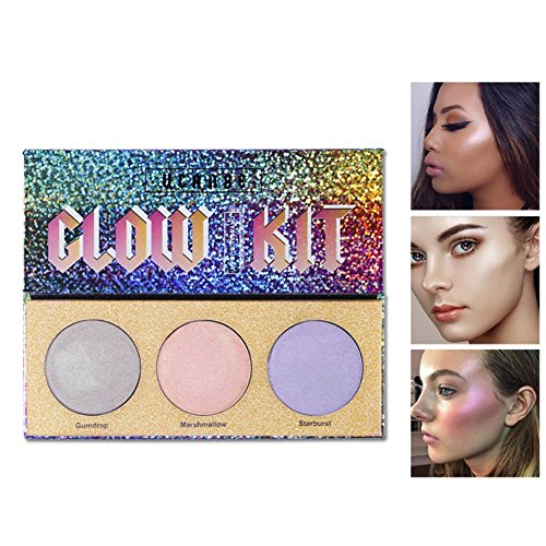 Cocohot 3 Color Highlighter Makeup Palette Crystal Sugar Highlighting Bronzer Glow Shimmer Eyeshadow Cosmetic Kits (A)