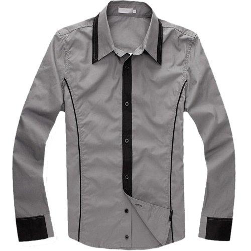 Partiss Mens Long Sleeve Dress Shirt,Large,Gray
