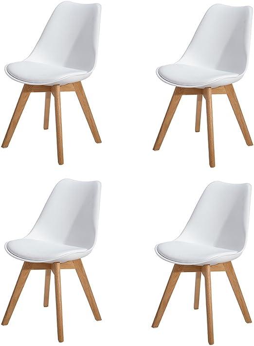 HJ WeDoo 4er Set Esszimmerstühle mit Massivholz Eiche Bein, Küchen stühle mit Gepolsterter für ESS und Wohnzimmer Weiß