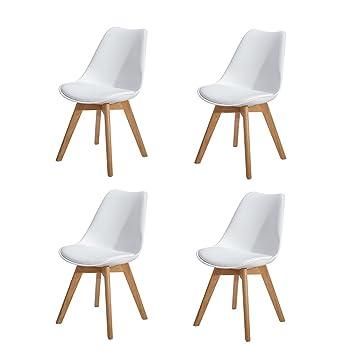 HJ WeDoo Pack de 4 Retro Sillas de Comedor Silla escandinava, Sillas Estilo nordico con Las piernas de Madera de Roble Maciza - Blanco