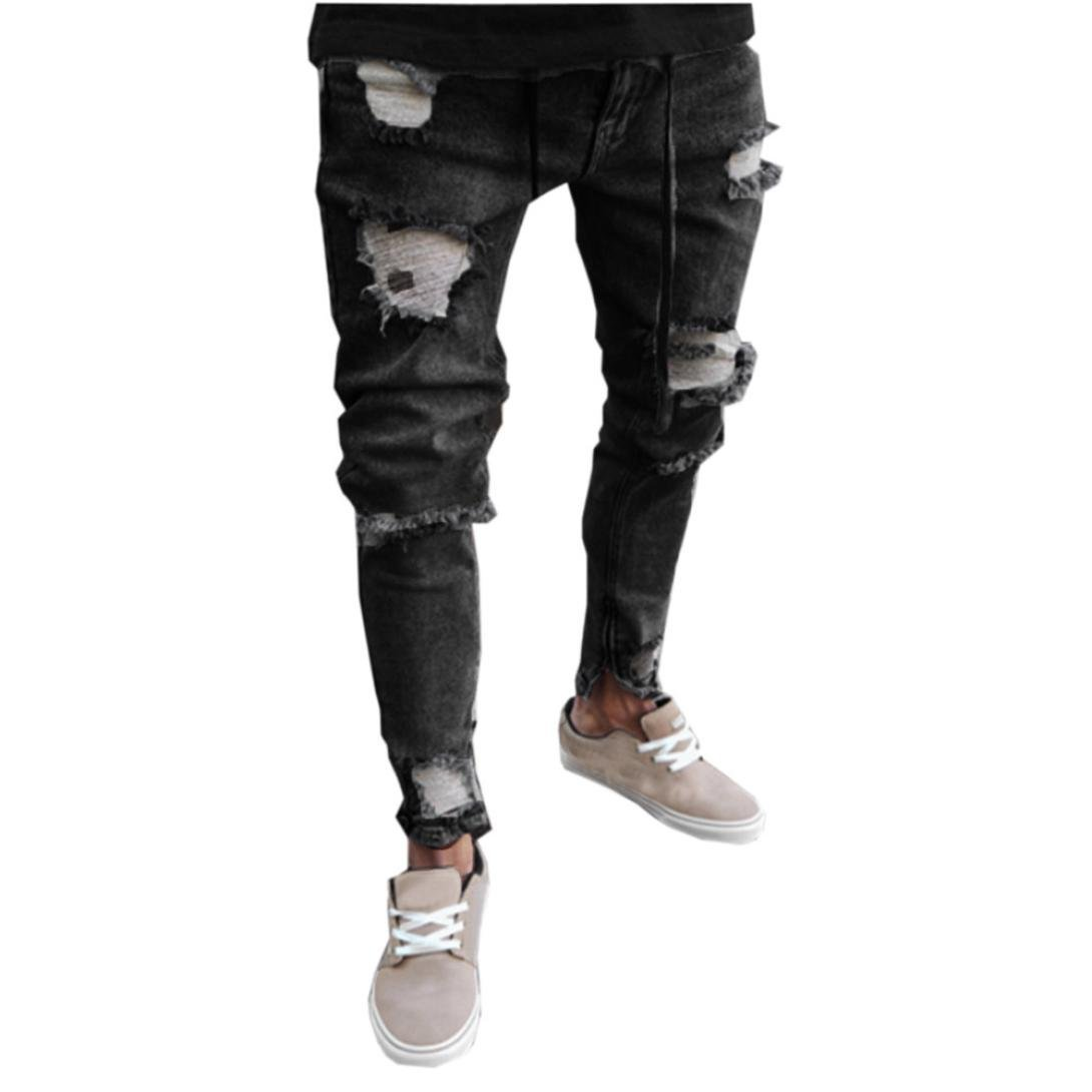 Mikkar Mens Jeans Trousers Skinny Stretch Denim Pants Distressed Ripped Freyed Slim Fit
