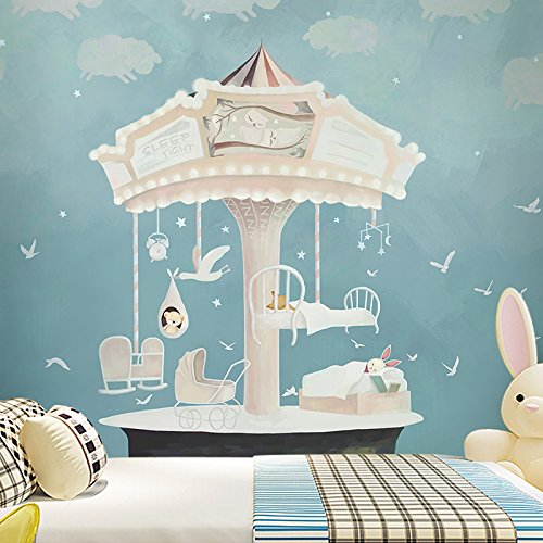 LHDLily Cartoon Fantasy Wallpaper Children'S Room Bedroom Kindergarten Background Wall Wallpaper Mural 350cmX250cm by LHDLily