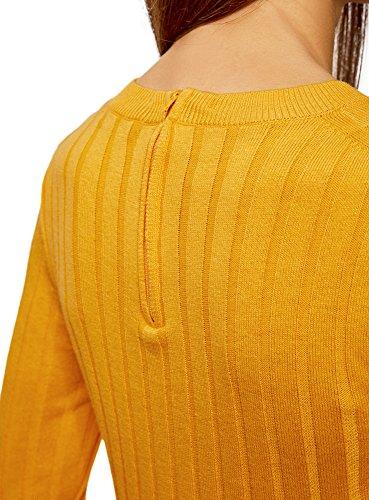 Zip a con Coste oodji Giallo Larghe sul Donna Collection Retro Maglione 5200n agwq0R