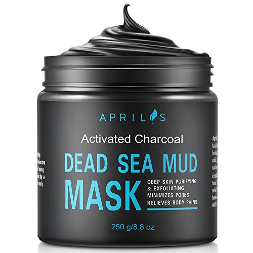Dead Sea Mud Mask with Activated Charcoal, Deep Cleansing Clay Face Mask for Reduction in Pores, Spots, Blackheads & Acne, Rejuvenated to Smooth & Moisturizing Face, 8.8 ()