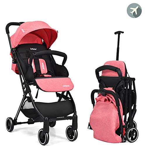 INFANS Lightweight Kid Pram | Folding Baby Stroller with Extendable Pull Rod, Safe Five-Point Harness, Adjustable Backrest & Footrest, Storage Basket, Cup Holder, for 0-3 Year (Red)