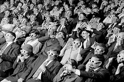 3D Movie Viewers in Theater Wearing 3D Glasses Photo Art Print Poster 36x24 inch ()
