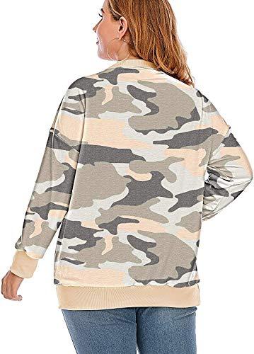 YASAKO Womens Plus Size Casual Tie Dye Camo Print Long Sleeve Shirts Crew Neck Loose Fit Sweatshirt Pullover Tops (Camouflage Orange, 3X-Large)