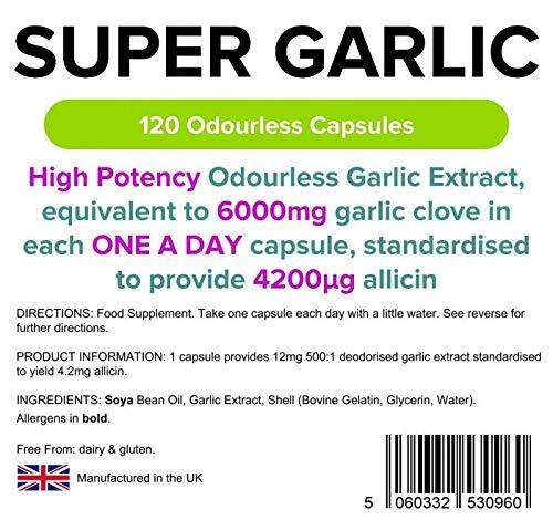 Lindens Súper ajo 6000 mg en cápsulas de gran resistencia | 120 Paquete | Extracto de ajo inodoro de gran potencia, equivalente a 6000 mg de ajo en cada ...