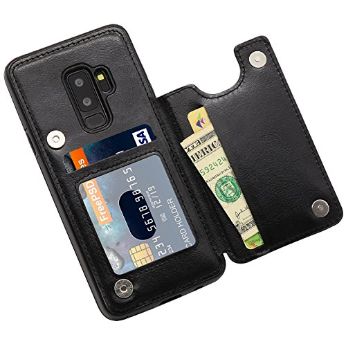 Galaxy S9 Plus Wallet Case, MMHUO Premium PU Leather Galaxy S9 Plus Case with Credit Card Holder Double Magnetic Buttons Flip Shockproof Protective Cover Samsung Galaxy S9 Plus 6.2 Inch - Black