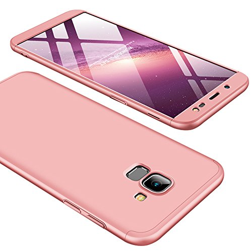 Galaxy J6 2018 Case, Ranyi [Full Body 3 Piece Cover] [Slim & Thin Fit Tightly] [360 Degree Protection] Premium Hybrid Bumper 3 in 1 Electroplated Hard Case for Samsung Galaxy J6 (2018), Rose Gold