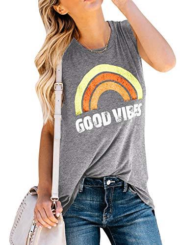 (YOMISOY Womens Summer Graphic Rainbow Tank Tops Cute Good Vibes Loose Sleeveless Cami T Shirts (Medium, Light Grey))