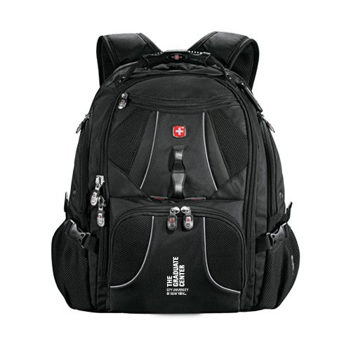 CUNY Graduate Center Wenger Swiss Army Mega Black Compu Backpack 'Official Logo' by CollegeFanGear