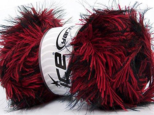 Yarn Eyelash Long (Safari - Red & Black Long Eyelash Yarn 100 Gram)