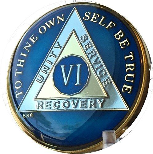 6 Year Midnight Blue AA Medallion Chip Tri Plate Gold & Nickel Plated Serenity Prayer