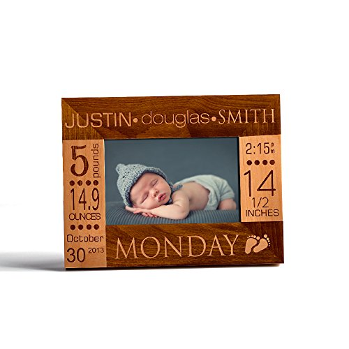 Personalized Birth Announcement Wooden Photo Frame New Born Baby Custom Gift 5x7 Horizontal (Wooden Photo Personalized)