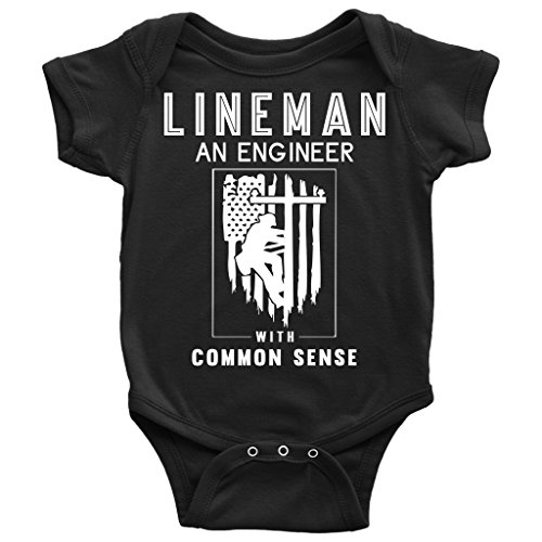 LOUSTORE Lineman Baby Bodysuit, Engineer with Common Sence T Shirt (18M, Baby Bodysuit - -