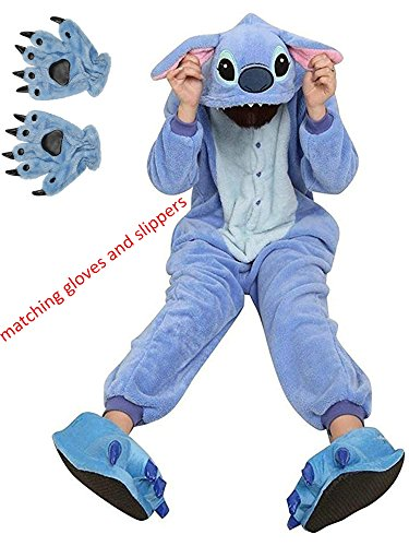 ReachMe Adult Animal Onesies Pajamas Stitch Skeleton Dinosaur Costumes Loungwear Pjs(1 Blue,XL)