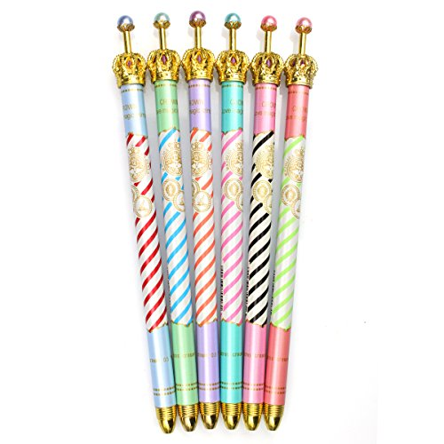 ZEHONG Gel Ink Pen Set of 6 Cute Adorable Crown Design Roller Pen Ballpoint Pen for School, Office, Family use