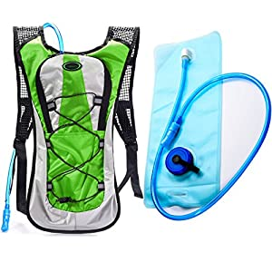 Hydration Backpack--Juboury Water Rucksack Bladder Bag for Running Hiking Cycling and Any Other Outdoor Sports with Free 2L TPU Hydration Bladder (Green)